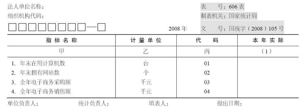 统计报表的格式结构