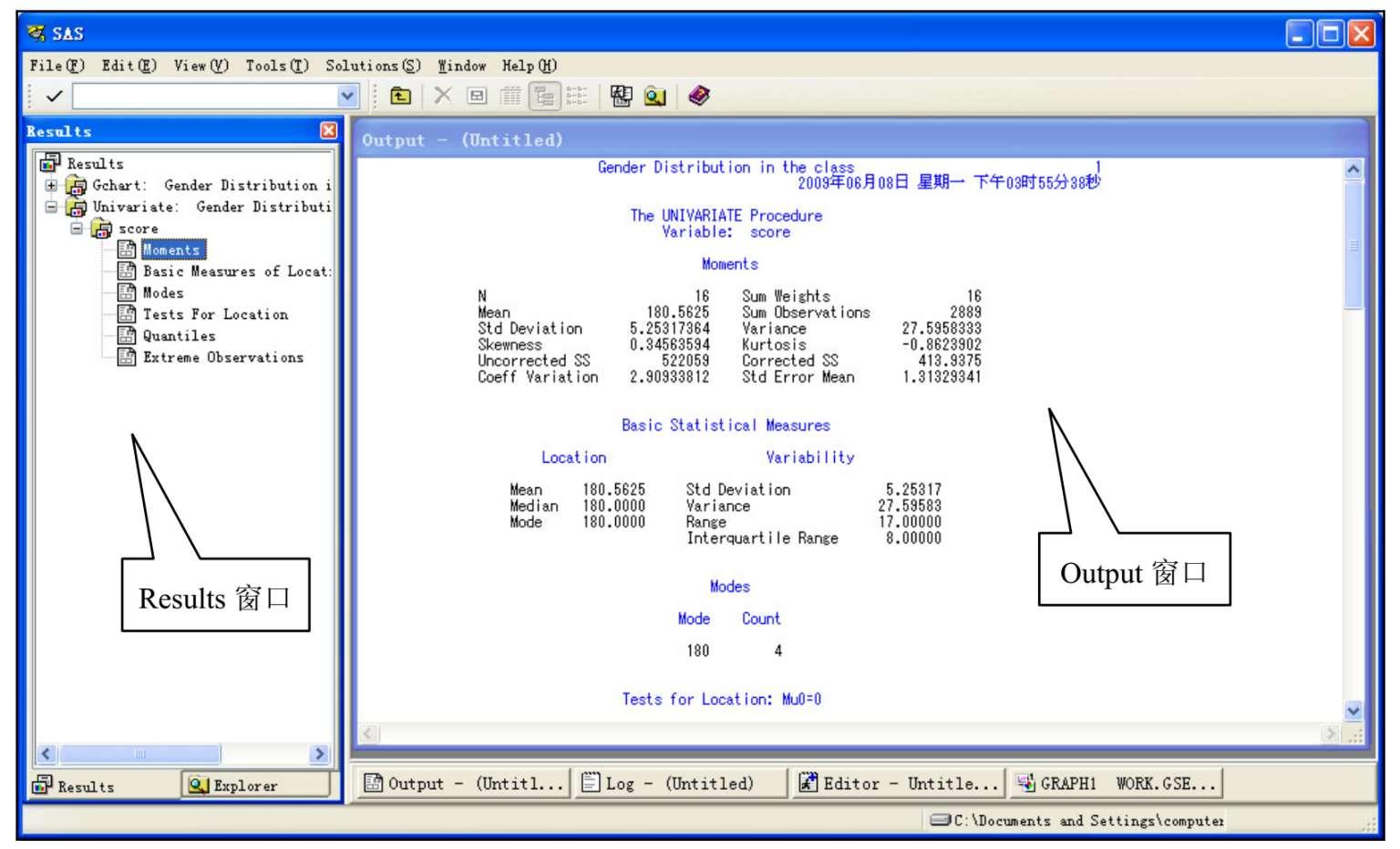 SAS软件的Output窗口与Results窗口